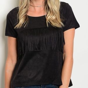 😘 4/$25 Black Fringe Short Sleeve Shirt